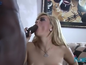 After treating her black stud with awesome titjob blondie gives him a ride