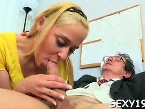 Babe is having wild three-some with stud and elderly teacher
