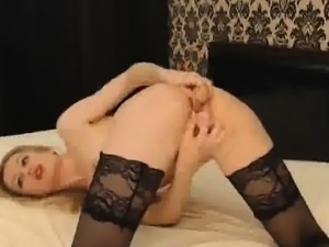 Stockings feet jerk black dick