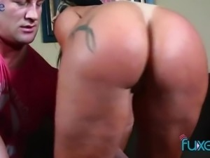 Bootylicious dirty whore is brave to take fat prick into her anus