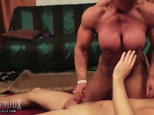 Massive Female Bodybuilder Total Cock Domination