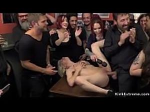 Euro blonde made gangbang fuck in public