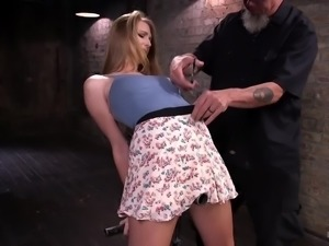 Awesome busty blonde hottie Ashley Lane gets tied up and treated hard