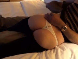 Sexy MILF flashing her hot ass and teasing cunt with panties