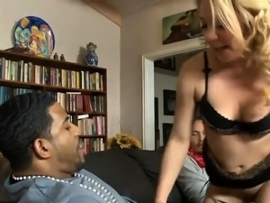 Blonde beauty DPed by massive black cocks on the couch