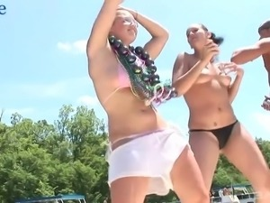 Horny shameless bikini bitches twerk their butts during outdoor party
