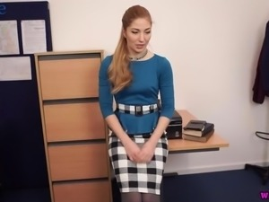 Vivid office slut Stephanie Carter flashes her bum and quite nice tits
