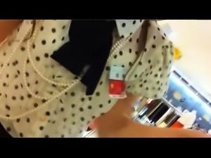 Fascinating Japanese girl in tight panties voyeur upskirt