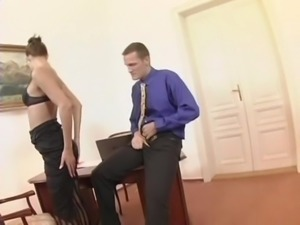 Seductive office girl in glasses gets screwed doggy style after giving a hot...
