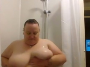 Liz washing her big boobies in the shower