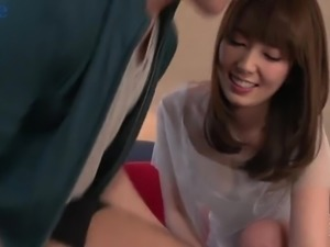 Talkative chestnut haired Japanese gal Yui Hatano gets unshaved pussy poked