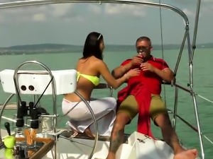 Brunette pornstar outdoor with cum in mouth
