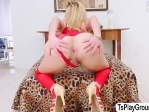 Horny latina tgirl natalia in hot masturbation on the couch