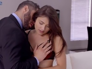Horn-mad businessman returns home to fuck his babe from behind
