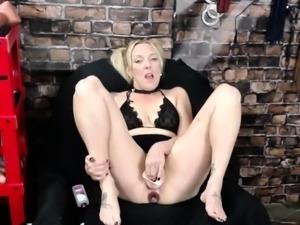 Horny MILF Has Some Kitchen Masturbation Fun with Toys