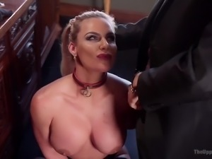 Tied up giant breasted MILF in black stockings Phoenix Marie is fucked doggy