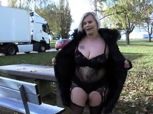 Big tits mature outdoor and cum in mouth