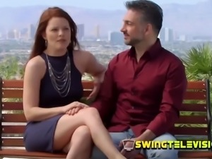 Redhead couple fools around with other couples at poolside