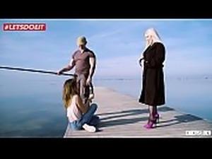 LETSDOEIT - Blonde Pornstar Seduces and Fucks Guy with GF Watching (Frida Sante)