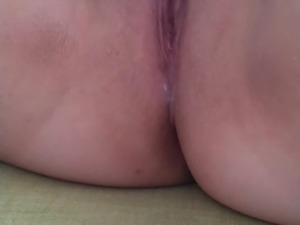 Cum covered pussy in the morning