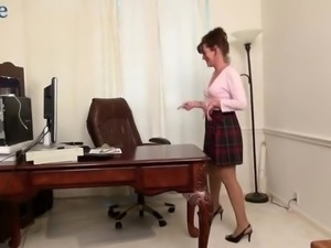 Mature rather wrinkled lady Shelby Ray undresses to masturbate hairy cunt
