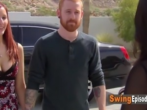 Naughty redheads engage in the hottest full swap ever in the red room