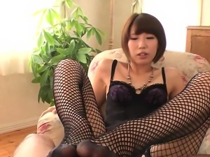 Pretty oriental receives pussy toying while sucking jock
