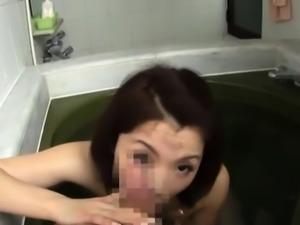 Stunning japanese housewife gives a steaming oral job