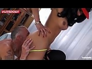 LETSDOEIT - Stunning Tranny Fucked Hard By Two Guys