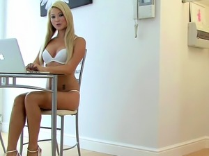 Skinny girl rides a fat dick