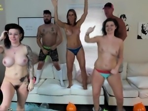 Horny amateur friends indulge in wild group sex on webcam