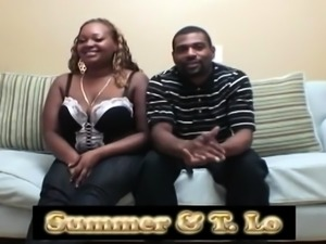 Chunky ebony babe gets drilled by a black guy on the couch