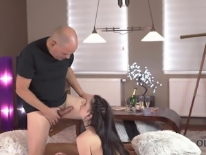 OLD4K. Adorable brunette Kittina Ivory gets banged by old...