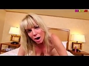 Blonde lady jerks off dick until she gets a jet of sperm   in her face, more...