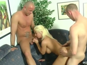 German mom fuck with step son and his best friend in mmf