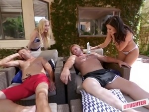 Svelte charming Emma Starletto rides and blows dick during swinger party