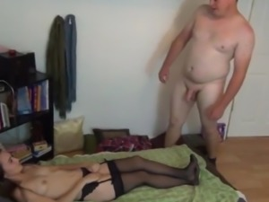 Fat and Shy Guy Fucks His New Amateur Petite Roommate Girl