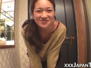 Asian teen films herself farting in lingerie solo