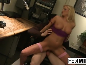 Busty blonde babe in lingerie fucks him at work
