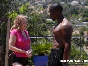 Coed big black cocked in the shower