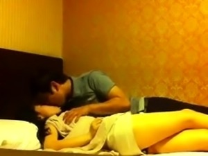 Slim Asian babe with perky titties gets fucked on hidden cam
