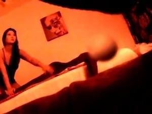Ravishing Oriental masseuse gives a handjob on hidden cam