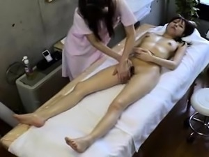 Delightful babes surrender their cunts to a lesbian masseuse