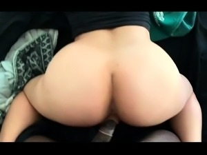 Amateur brunette getting drilled doggystyle by a black guy