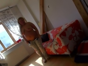 Reverted chubby mature shows off her saggy tits