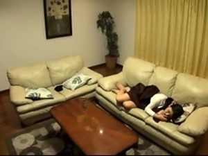 Sleepy Japanese wife has a horny guy plowing her hairy peach