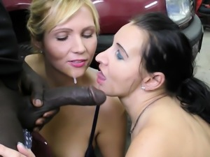 Huge Cock Black Seduce two MILF to Fuck in Garage FFM 3some