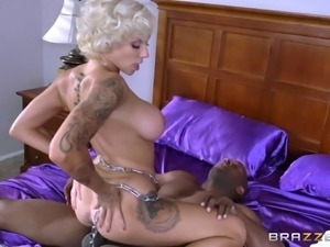Nice tattoos and big titties on a sexy bleach blonde interracial slut