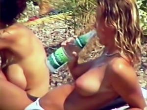 Busty Saskia & Stefanie Topless at the beach