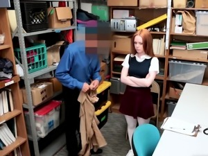 Skinny redhead shoplifter chick punish fucked hard